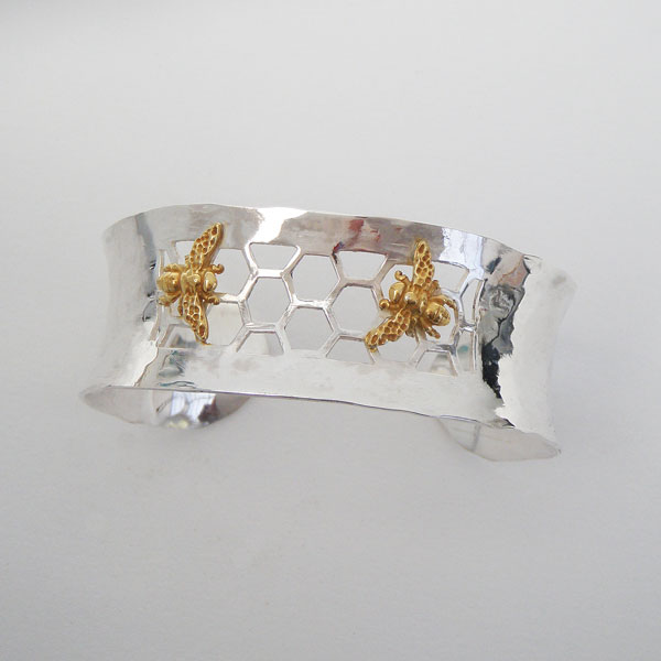 Limited edition hand made silver Bee Cuff